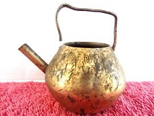 VINTAGE  MINIATURE  ETCHED   BRASS  KETTLE   MADE  IN  INDIA   6cm.