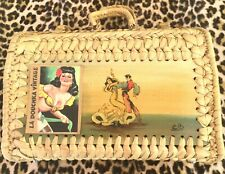 1950s Signed Wicker Box Bag~Hand Painted~Flamenco Dancers~Corrida~Made In Spain