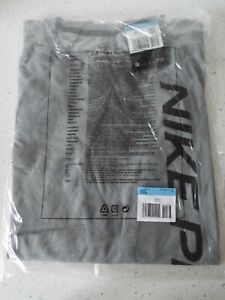 MENS NIKE PRO DRI-FIT GREY T-SHIRT SIZE M BRAND NEW WITH TAGS IN PACKAGING.