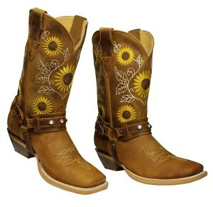 Sunflower Genuine Leather Western Cowgirl Boots Square Toe Botas Vaqueras