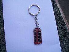 old red british telephone box enamel charm keyring