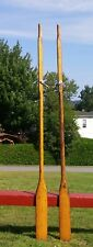 """WONDERFUL Pair ANTIQUE WOODEN OARS 84"""" Old Blond Patina + LOCKS Boat Paddles"""