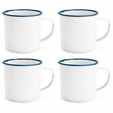 White Enamel Mugs Cups Retro Camping Outdoor Coffee Tea Mug Cup 240ml x4