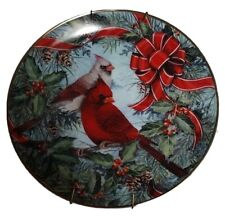 "Franklin Mint Collector Plates ""Cardinals in the Holly"" Theresa Politowicz"