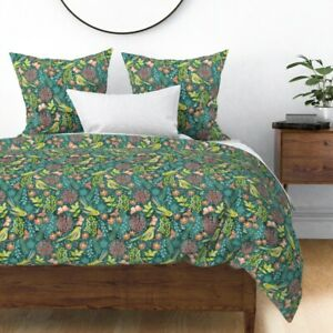 Bird Garden Floral Butterfly Watercolor Green Sateen Duvet Cover by Roostery