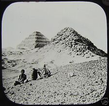 Glass Magic Lantern Slide PYRAMIDS OF SAKHARA C1900 EGYPT EGYPTIANS