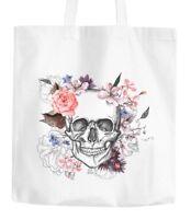 Jutebeutel Totenkopf Blumen Flower Skull Boho Schädel Baumwolltasche