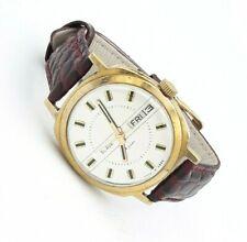 SLAVA Calendar Watch Gold Plated Case Ussr Mechanical Vintage Soviet Serviced