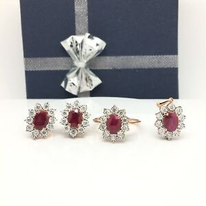14k solid rose gold diamonds and rubies ring earrings and pendant set