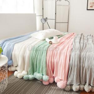 200x150CM Chunky Knitted Knit Throw Crochet Blanket Yarn Cotton Rug Bed Sofa Mat