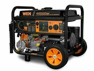WEN DF1100T 11000W 120V/240V Dual Fuel Portable Generator with Wheel Kit&E-start