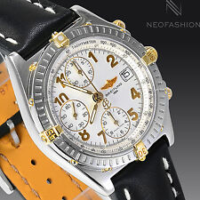 BREITLING CHRONOMAT 18K GOLD/SS BEAUTIFUL VERY RARE CREAM DIAL MENS WATCH B13050