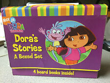 Nick JR. Dora the Explorer Board Book Collection Set of 4 Count w/ Dora A Day at