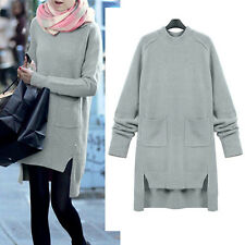 Women Ladies Warm Knit Tunic Coat Long Sleeve AU Size 14 16 18 20 22 24 26 #906