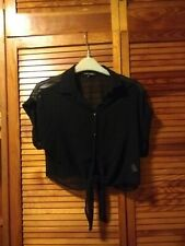 River Island Black Sheer Cropped Blouse Size 10