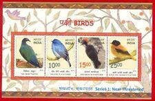 [148] India Miniature Sheet Near Threatened Birds 2016 MNH