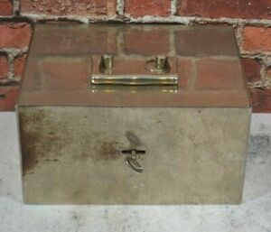 Vtg Hand Safe Lock Box, Fire Box Home ALARM Still Bank w/Working LOCK KEY TRAY