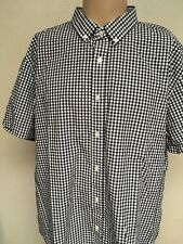 UNTUCKit GINGHAM CHECK SHORT SLEEVE BUTTON UP SHIRT White Navy Blue CRISP XXXL