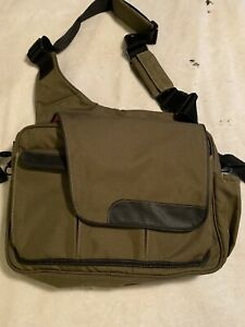 Diaper Dude Messenger Cross Body Diaper Bag Army Green With Orange Lining