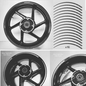 Tapered Motorcycle Wheel Rim BLACK Tape stickers decal 10mm width 003
