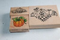 3 PCS Pumpkins Rubber Stamp Fall Halloween Leaves Pumpkin D-213 A1078E Wood