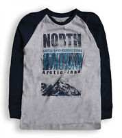 Boys T shirt Kids New Long Sleeved Cotton Top Navy Grey Ages 2 3 4 5 6 7 Years