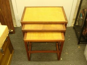 Mid Century Danish Modern Teak Nesting Tables, Svante Skogh Style Rush Tops READ
