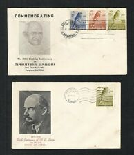 Burma 1969 Mahatma Gandhi & 1970 Lenin FDC 2 First Day Cover Bird