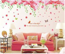 Removable Art Vinyl Quote DIY Cherry Blossom Butterfly Tree Wall Sticker Decal