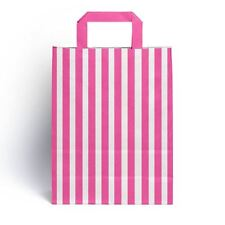 25 x Pink Candy Stripe Paper Party Gift Bags with Handles 18cm x 23cm + 8.5cm