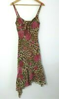 Y2k 2000s Floral Animal Print Tie Bust Bias Cut Sleeveless Dress Size 8