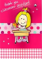 Girl Thank You Classroom Assistant Greeting Card Teacher Teaching Thankyou Cards