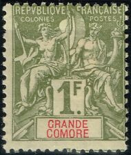 GRANDE COMORE TYPE GROUPE 1F OLIVE N° 13 NEUF * GOMME AVEC CHARNIERE COTE 40 €