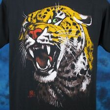vintage 80s LEOPARD PAPER THIN T-Shirt LARGE jaguar nature wild cat animal soft