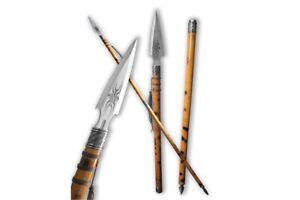 """New 70"""" African Wooden Warrior Combat Battle Congo Steel Spear Wooden Handle"""