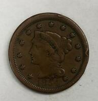 1854 Braided Hair Large Cent 1¢ Very Good