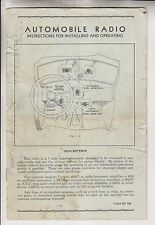 CIRCA 1937 PAMPHLET - AUTOMOBILE RADIO INSTRUCTIONS FOR INSTALLING & OPERATING