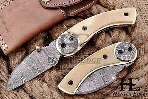 HUNTEX Custom Handmade Damascus 110mm Long Hunting Folding Pocket Sheepfot Knife