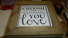 wooden square box,hinge lid,cherish the memories you love,4x5 inches