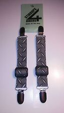 STIRRUPS 4 BIKERS .. MOTORCYCLE RIDER PANT CLIPS BUNGEE CLAMPS....DIAMOND PLATE