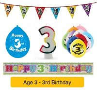 AGE 3 - Happy 3rd Birthday Party Balloons, Banners Badges Candles & Decorations