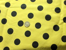 YELLOW + BLACK LARGE POLKA DOTS FUN TREND FASHION SEW CRAFT DECOR FABRIC BTHY#