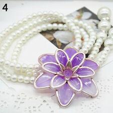 HO_ HK- Women Jewelry Flower Pendant Faux Pearl Tassels Necklace Sweater Chain P