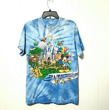 Disney World & Epcot T'shirt Micky Mouse & Friends Blue Tie Dyed Tee Size Large