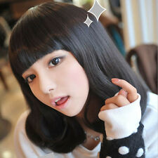 Lovely Fashion Mid Long Wig Neat Bang Straight Silky Hair Cosplay Party Full Wig
