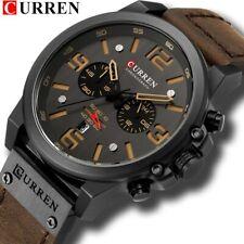 CURREN Mens Watches Top Luxury Brand Waterproof Sport  Quartz Military Leather
