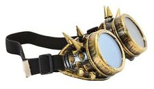 Antique Gold Steampunk Chrome Motorcycle Flying Goggles Vintage Pilot Biker