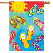 """Fun in the Sun Flip Flops Summer House Flag Pool Nautical 28"""" x 40"""""""