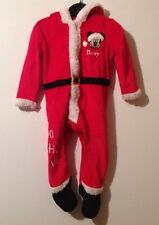 Baby Boys 9-12 Months Disney Mickey Mouse Red Christmas Santa All In One Outfit