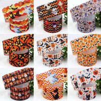 Lot Of 10yds Halloween Grosgrain Ribbon DIY Craft Pumpkin Ghost Spider Skull
